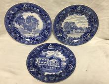 3 Wedgwood Of Etruria Transferware Plates