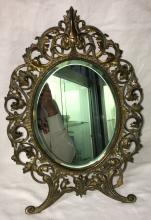 Beveled Glass Table Mirror In Brass Frame