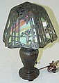 Bronze Handel slag glass table lamp