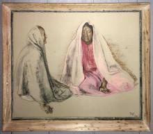 Artist Signed Pastel Of Women