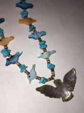 Mother Of Pearl Bird, Shell & Turquoise Necklace