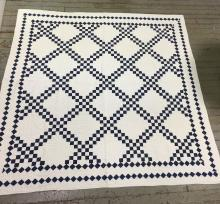 Hand Sewn Blue And White Quilt