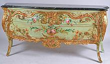 Marble Top Hand Painted Two Drawer Bombe Sideboard