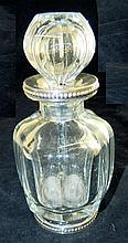 Cut Glass Bottle with Hallmarked Silver Rim