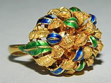 18K Gold Enameled Ring