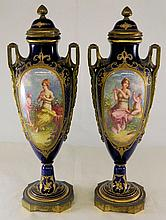 Pair of Sevres Hand Painted Porcelain Urns