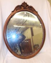 Beveled Glass Mirror In Carved Frame