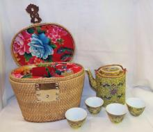 Chinese Porcelain Tea Set In Fitted Basket
