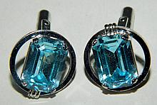 Pair of Sterling and Blue Stone Cuff Links