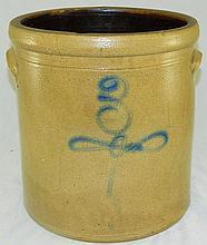 Stoneware Crock with Blue Decoration