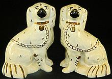Pair of Decorated Staffordshire Dogs