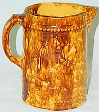 Stoneware Pitcher with Peacock Decoration