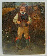 Signed Oil Painting of Man on Tin