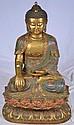 Oriental cloisonne and bronze Buddha
