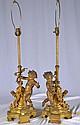 Pair of bronze figural cherub lamp bases