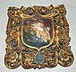 Carved and gilt decorated wooden plaque