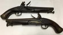 Pair Of Antique Flintlock Dueling Pistols, Tower