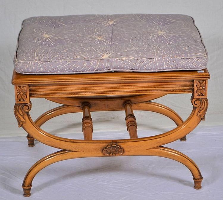 Carved bedroom bench