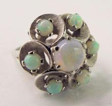 10k Opal Cocktail Cluster Ring