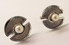 Sterling Silver And Natural White Pearl Cufflinks