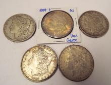 1888 Morgan Dollars (1-p) 1889 (1-p, 3-o)