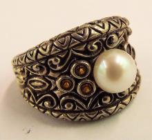 Designer Signed Barbara Bixby Pearl Sterling Ring