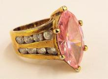 Sterling Silver Ring With Pink And Clear Stones