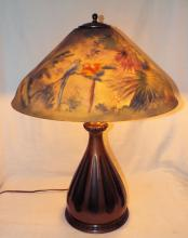 Signed Pairpoint Reverse Painted Parlor Lamp