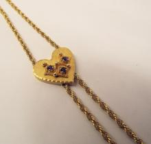 14k Gold Necklace W/ Sapphire Heart Slide Pendant