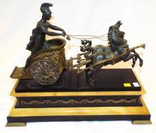Bronze Figural Horse & Chariot Clock
