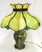 Bronze Base Slag Glass Table Lamp