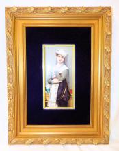 Hand Painted Porcelain Plaque In Gilt Frame
