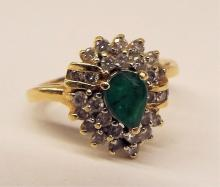 14k Gold Ring With Emerald And Diamonds