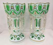 Pair Of Bohemian Glass Lusters With Prisms