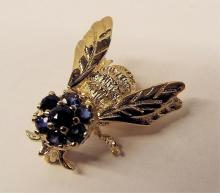 14k Gold Bee Pin With Sapphires