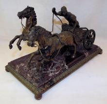 Bronze & Marble Horse & Chariot Sculpture