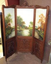 Carved Trifold Screen With Oil On Canvas Inserts