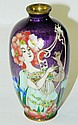 Cloisonne vase, lady with harp