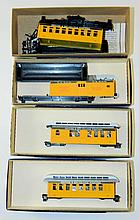 Grouping of 4 Roundhouse Model Train Cars in Boxes
