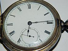Coin silver Illinois pocket watch, Dueber Coin