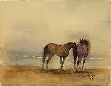 Falzni watercolor of Horses