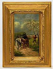 Artist signed oil on board in gilt frame