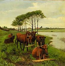 Artist signed oil on canvas cow scene