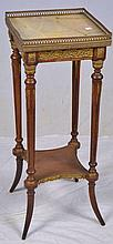 Marble Top Plant Stand with Brass Gallery