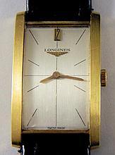 Men's Longines tank style wrist watch, 18k gold