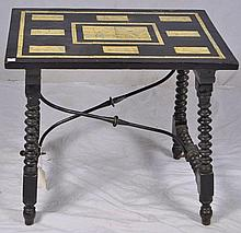Black lacquer and ivory scrimshaw table
