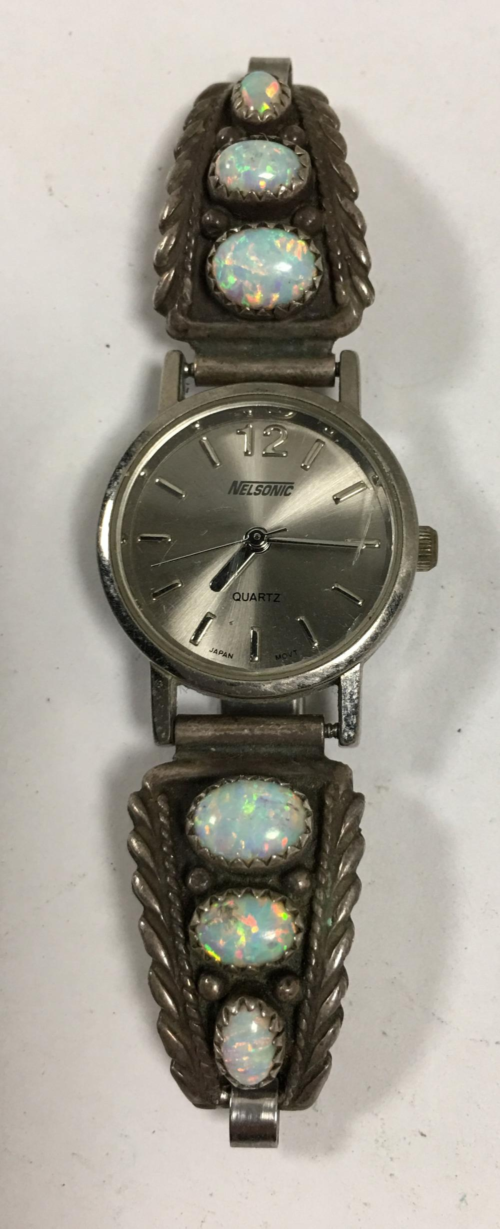 Wrist Watch With Sterling & Opal Plaques