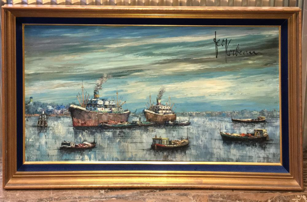 Signed Leon Corbeau Oil On Canvas, Boats On Water
