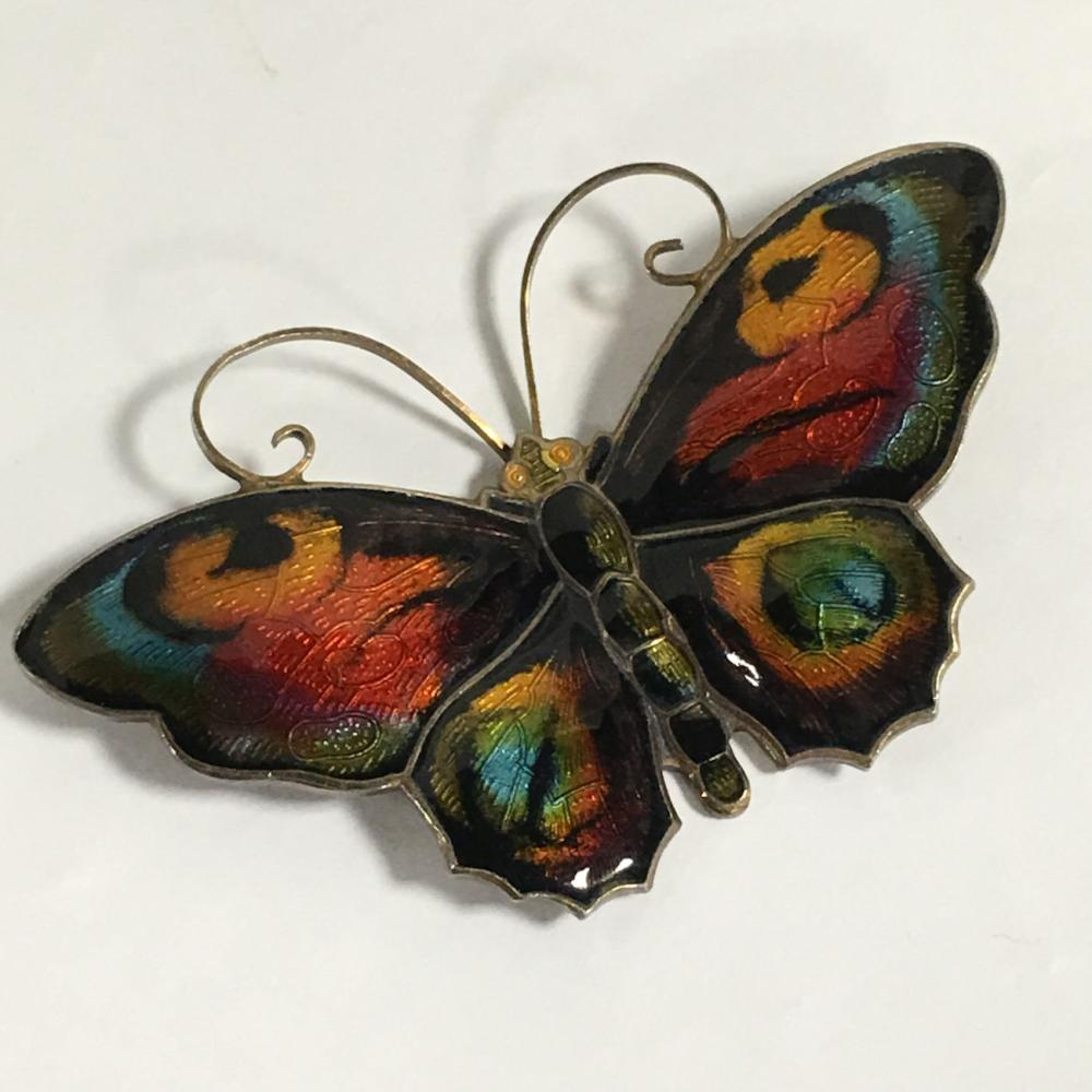 David Andersen Sterling Silver Enameled Butterfly