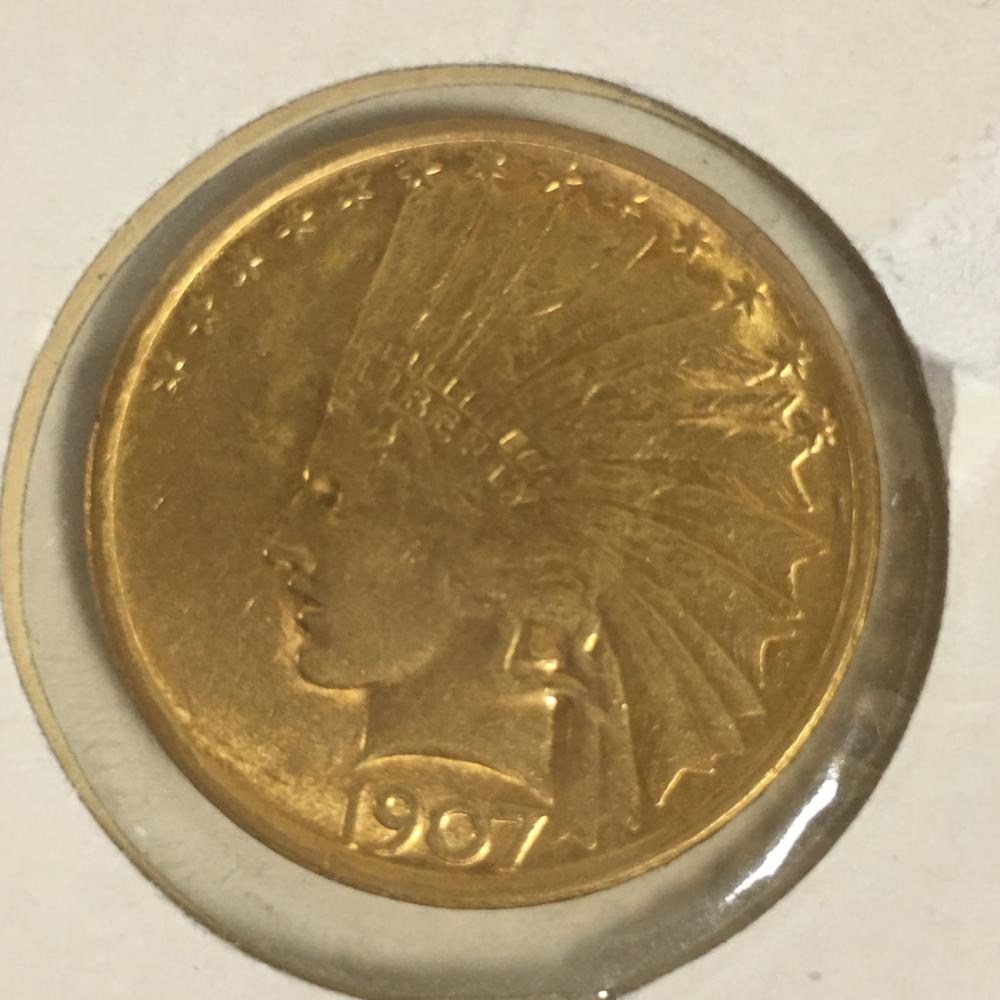 1907 Indian Head Gold $10 Eagle Coin